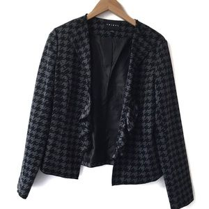 Tribal black and gray houndstooth print blazer NEW